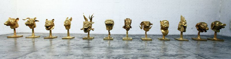 AI Weiwei, Circle of Animals/Zodiac Heads: Gold, 2010