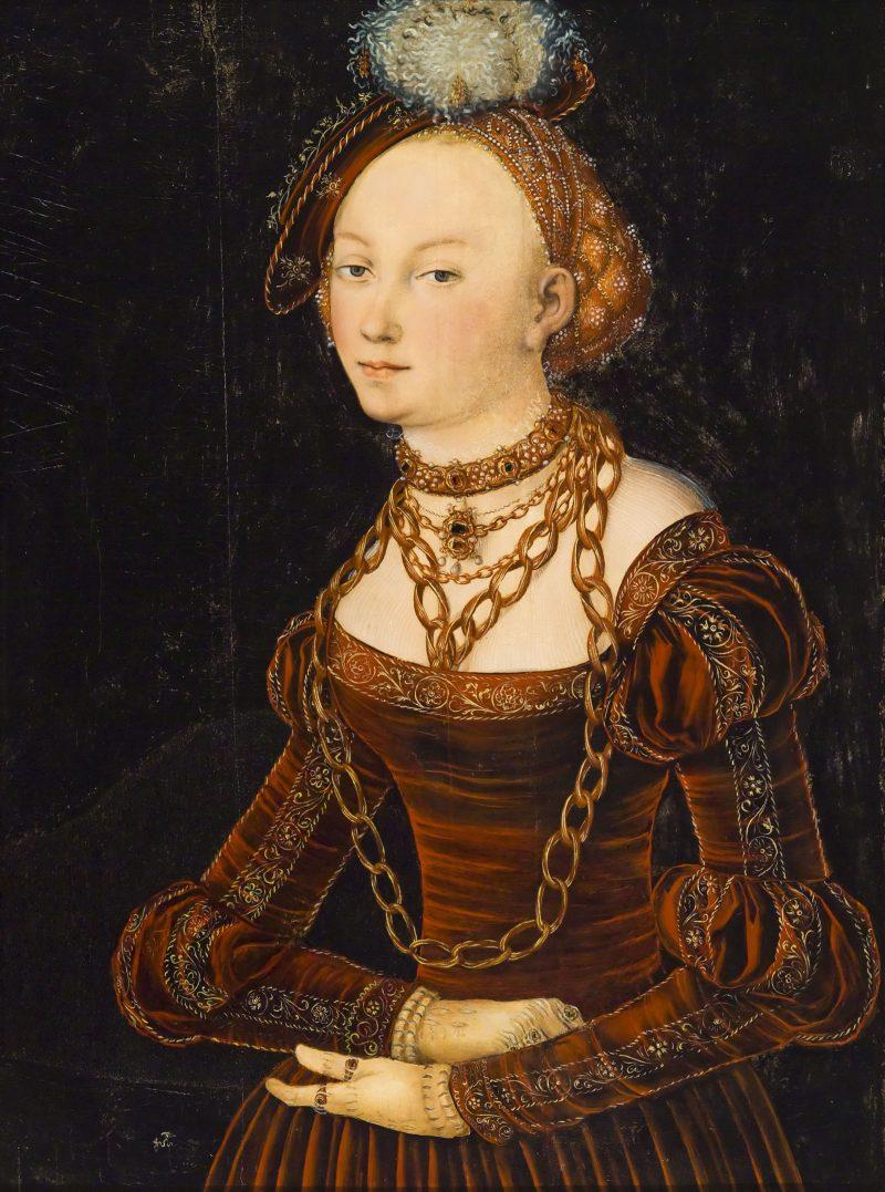 Lucas Cranach l'Ancien, portrait d'une dame, c. 1540
