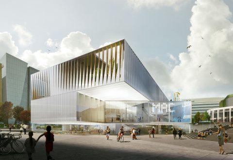 Vue du nouveau MAC rue Sainte-Catherine