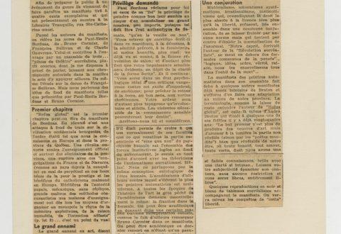 Rolland Boulanger, <i>Dynamitage automatiste à la Librairie Tranquille</i>, coupure de presse tirée du Montréal-Matin, 9 août 1948 (détail).