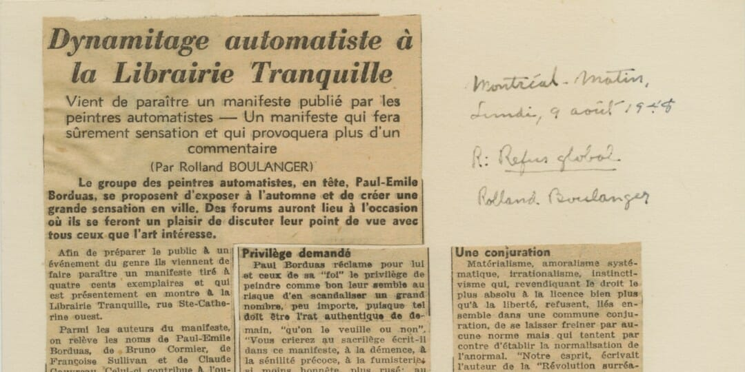 Rolland Boulanger, Dynamitage automatiste à la Librairie Tranquille, clipping from Montréal-Matin, August 9, 1948 (detail)