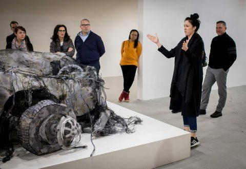 SéminArts – Visite à la Galerie Art Mûr (14-03-2018), œuvre de Jannick Deslauriers, Sentence, soufflé et linceul, 2017