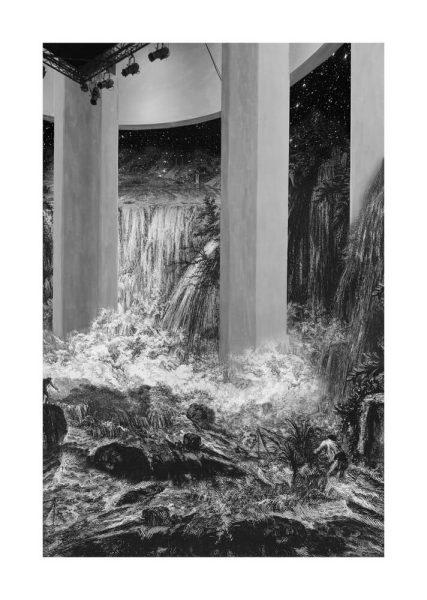 Gisele Amantea, <i>Faux Site, Museum (starry night waterfall)</i>, 2017