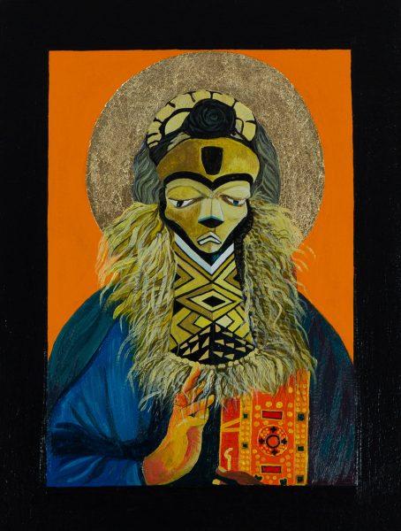Moridja Kitenge Banza, Christ Pantocrator No. 3, 2017