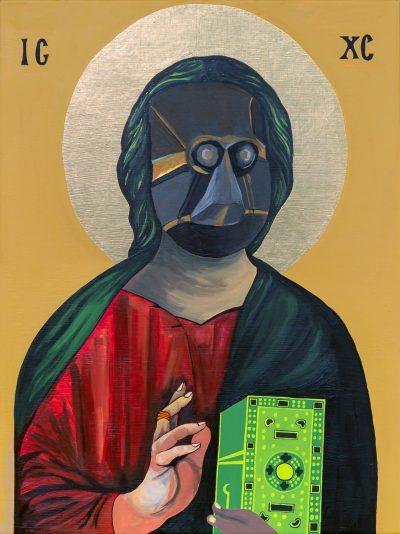 Moridja Kitenge Banza, Christ Pantocrator n°10, 2020