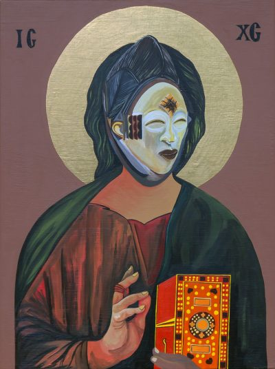 Moridja Kitenge Banza, Christ Pantocrator n°11, 2020