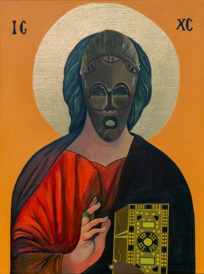 Moridja Kitenge Banza, Christ Pantocrator n°12, 2020