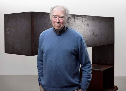Michael Snow in 2012 with <em>Seated Sculpture</em> (1982, Art Gallery of Ontario Collection)