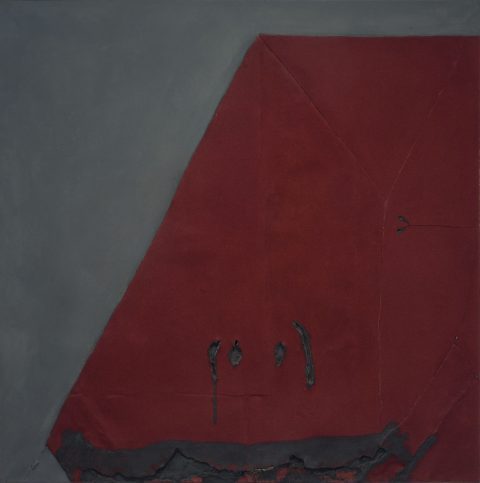 Vellut granate, 1963, Oil, sand and felt on canvas mounted on plywood.