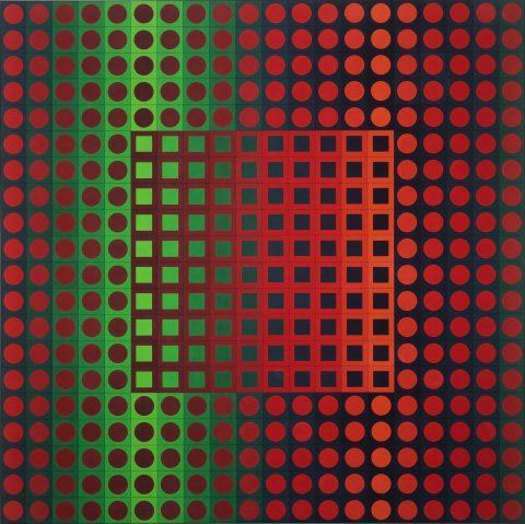 Zett, 1966, Victor Vasarely, Acrylique sur toile.