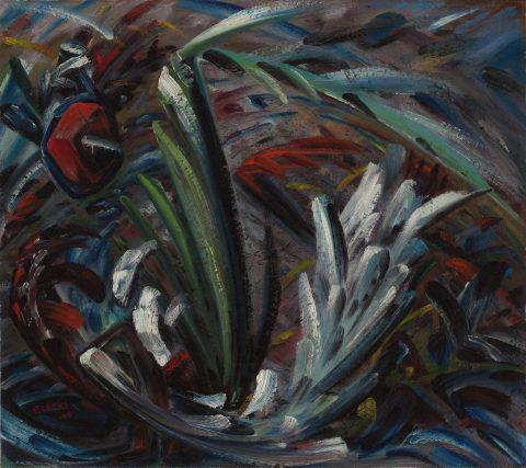 Leur ombre, 1945, Fernand Leduc, Huile sur carton.
