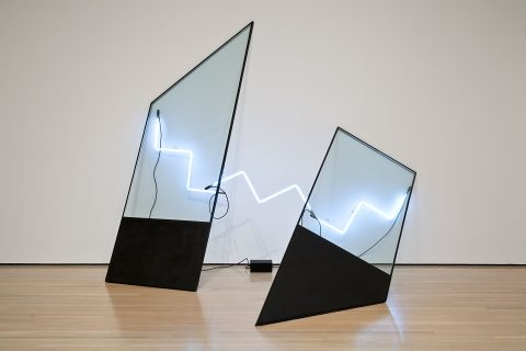 La Salle, 1980, Glass, black paint, adhesive tape, neon, transformer and electrical wiring.