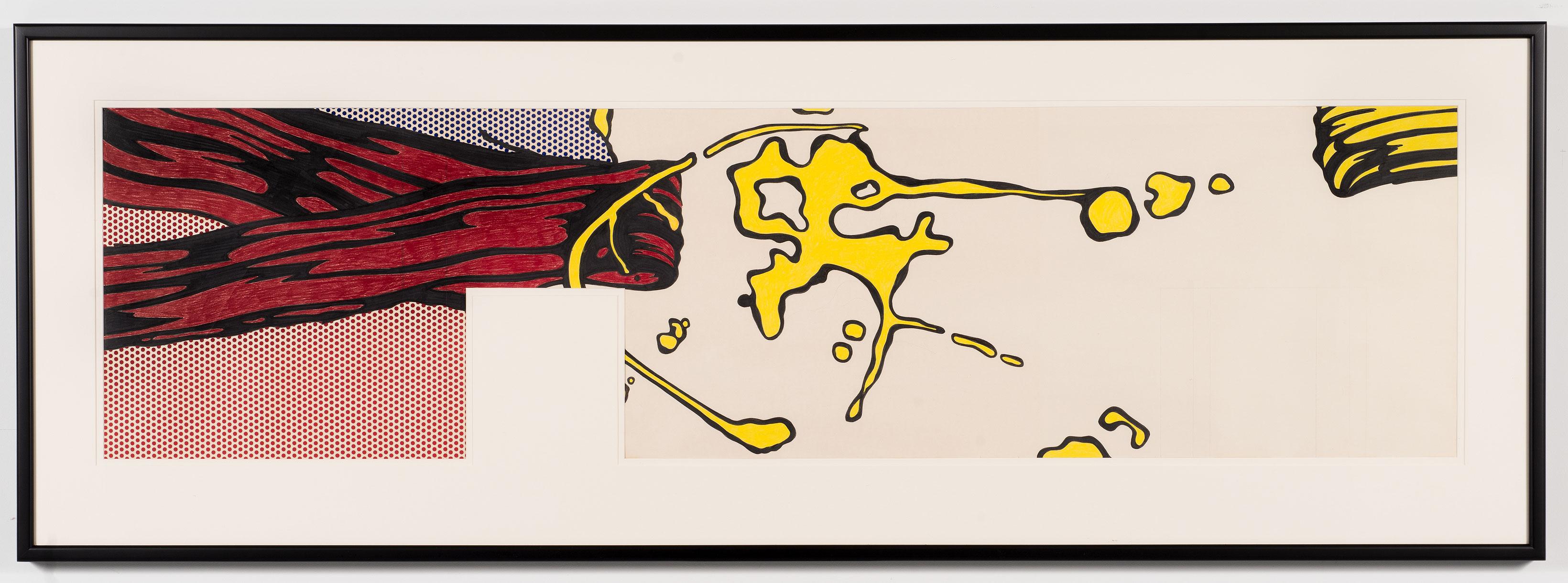 détail de Brushstrokes, 1969, Roy Lichtenstein, Crayon-feutre, crayon de couleur, graphite et acrylique sur papier, 3 éléments.