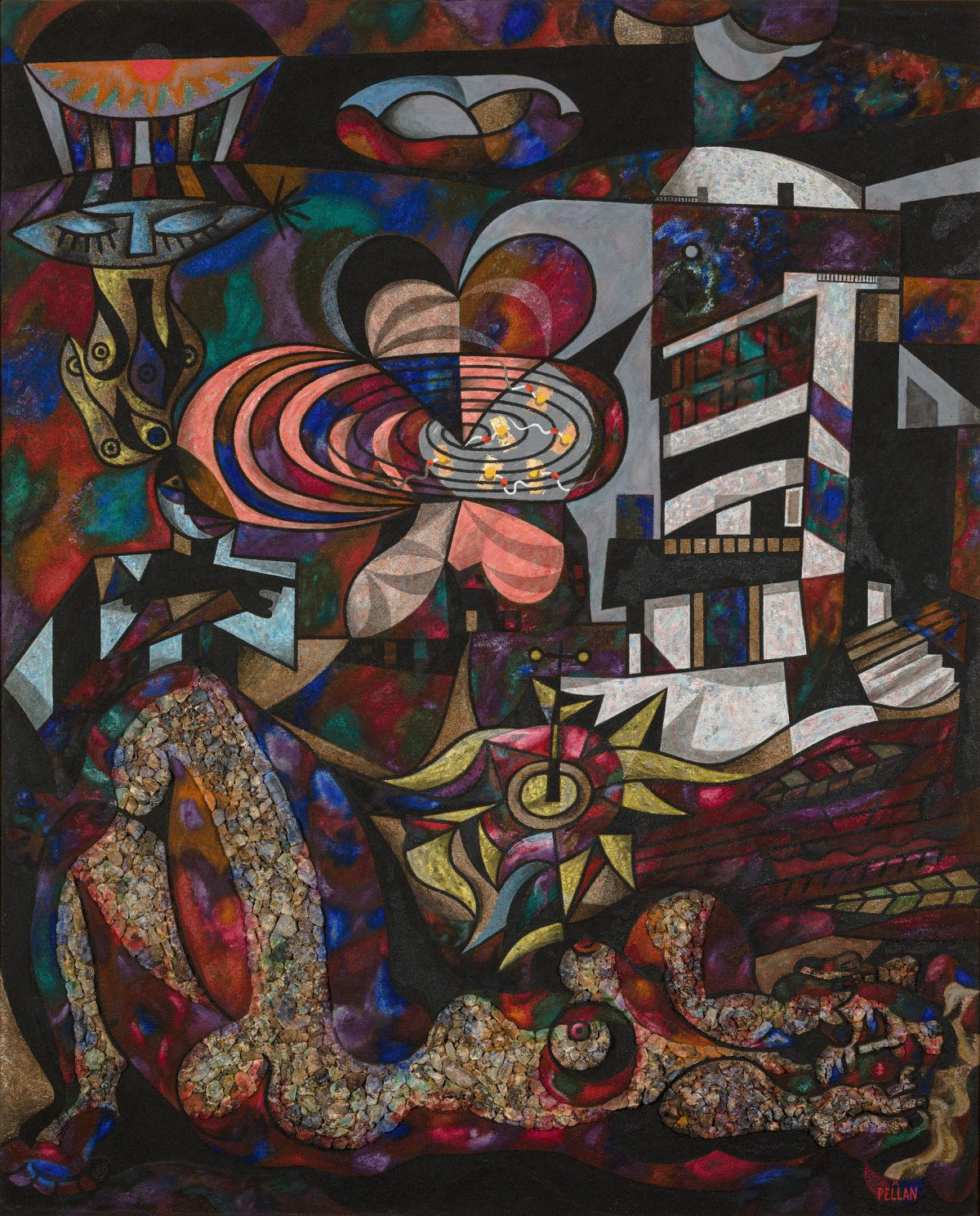 Calme obscur, 1944-1947, Alfred Pellan, Huile, silice et mâchefer sur toile marouflée sur contreplaqué.