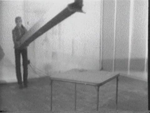 still of Box Concert, 1974, Black and white video, sound, 5 min.