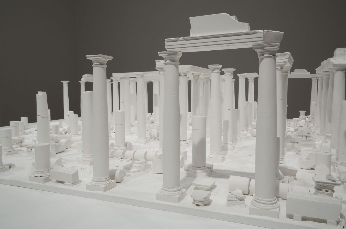 detail of Le Temple aux cent colonnes, 1980, Construction and plaster casting on wood base.