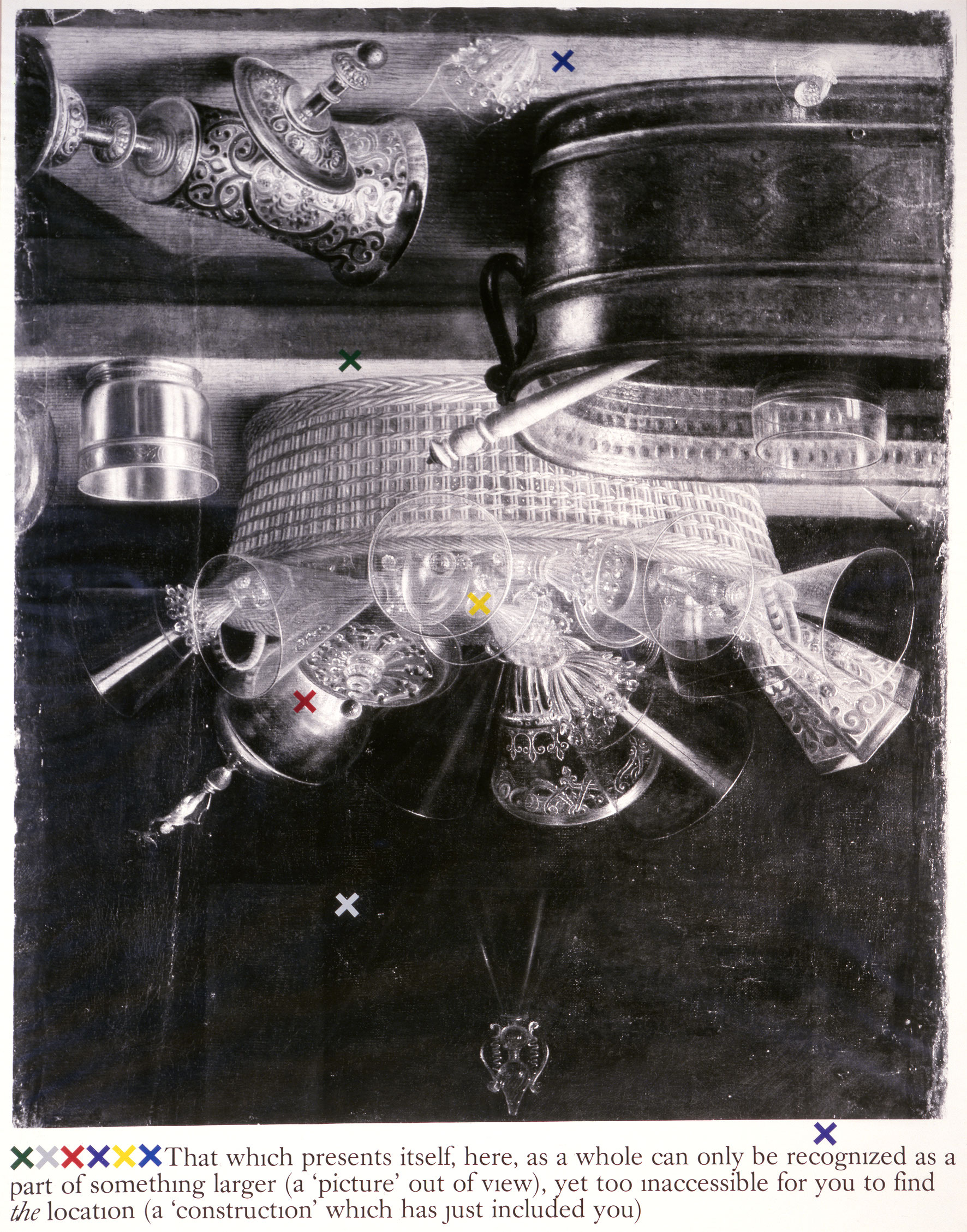 Cathexis No. 48 (de la série «Cathexis Series», 1982), 1982, tirage de 1993, Joseph Kosuth, Épreuve à développement chromogène et décalcomanies.