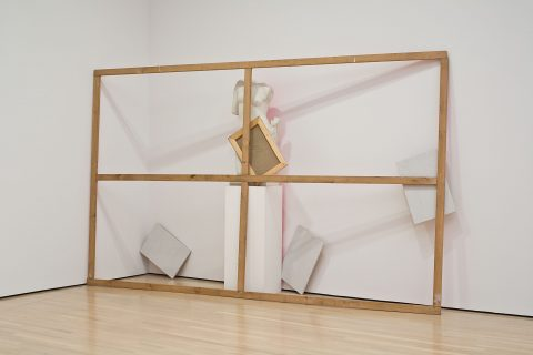 L'Origine della pittura, 1982-1983, Wooden stretcher, canvas mounted on stretchers, plaster mold on painted base and fluorescent paint.