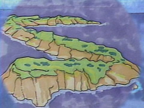 still of Sax Island, 1984, Colour video, sound, 11 min 30 s.
