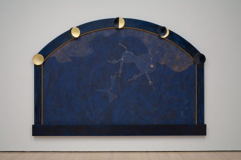 Canus Major: The Origin of the Heavenly Waters, 1983, Acrylic on canvas, gold leaf imitation and gold leaf on wood.