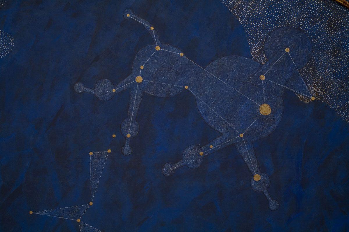 détail de Canus Major: The Origin of the Heavenly Waters, 1983, General Idea, Acrylique sur toile, imitation de feuille d'or et feuille d'or sur bois.