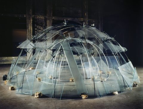 Triplo Igloo, 1984, Aluminum, steel, glass, clamps, clay.