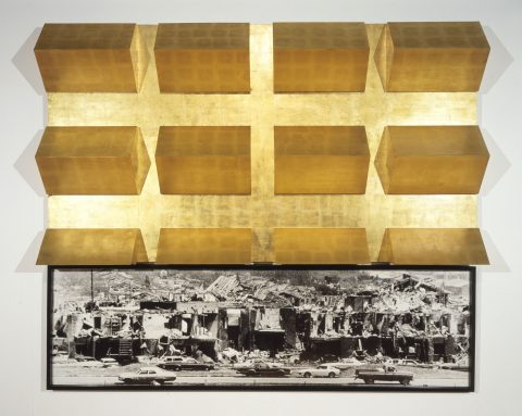 Cold Heaven, 1983-1984, Gold leaf on plywood and black and white framed photograph.