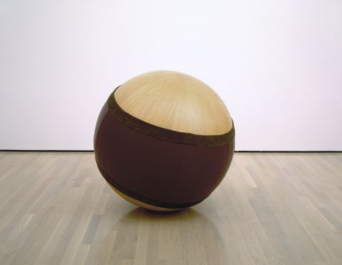 Grande Sphère, 1988, Ash and leather.