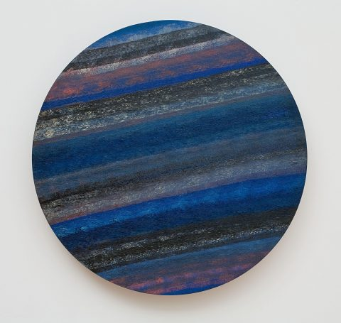 Espace temps modulations bleues, 1963, Oil on plywood.
