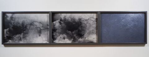 Histoire naturelle VI (Nubilæ), 1988-1991, 2 gelatin silver prints and oil on masonite.