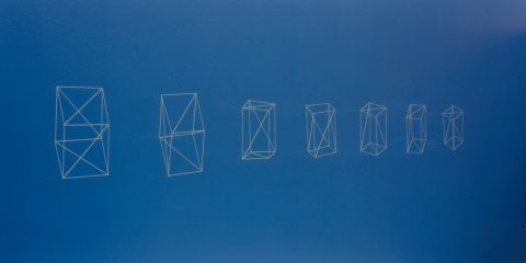 Cubes with Four Bisected Sides Rotated Along One Axis, 1979, Jana Sterbak, Aiguilles et fil.