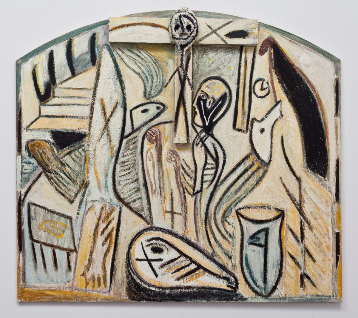 Untitled, 1985, Oil, encaustic and wood on canvas.