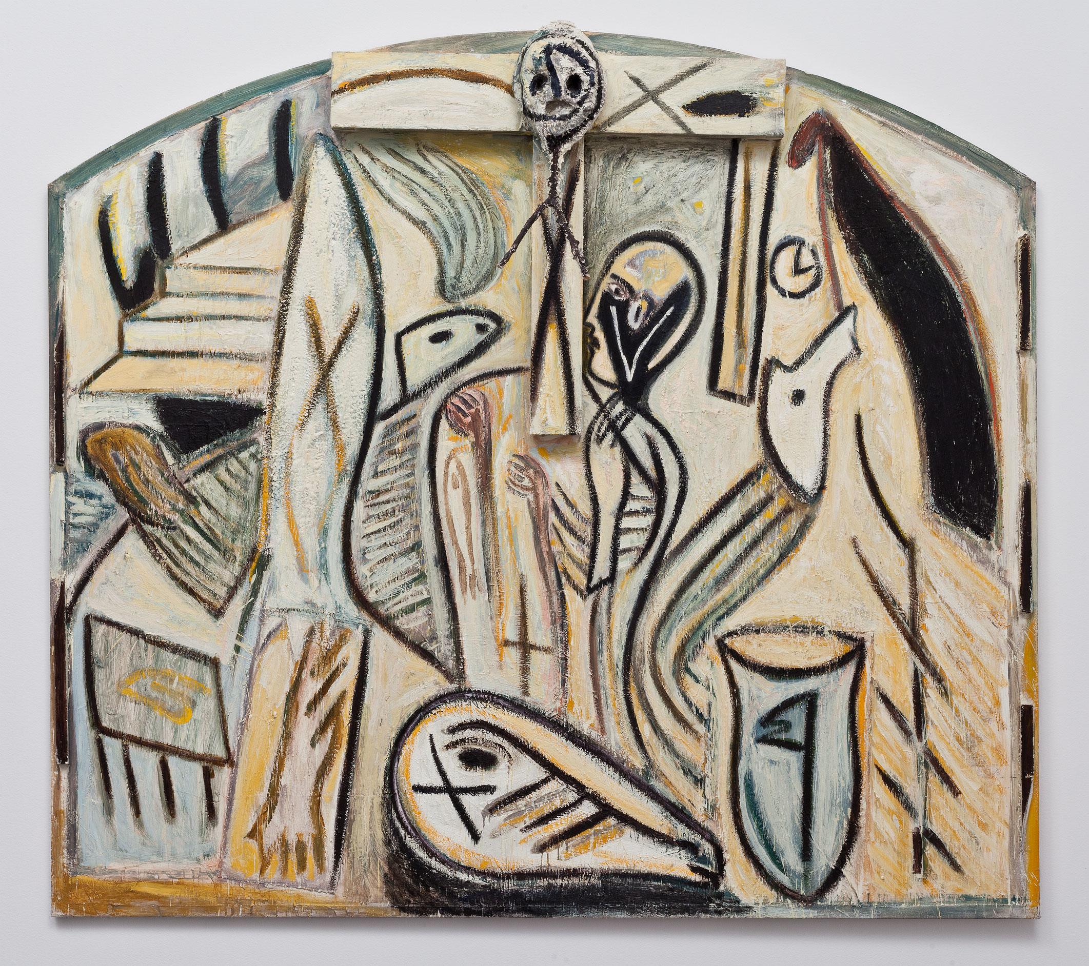 Untitled, 1985, Mimmo Paladino, Huile, encaustique et bois sur toile.