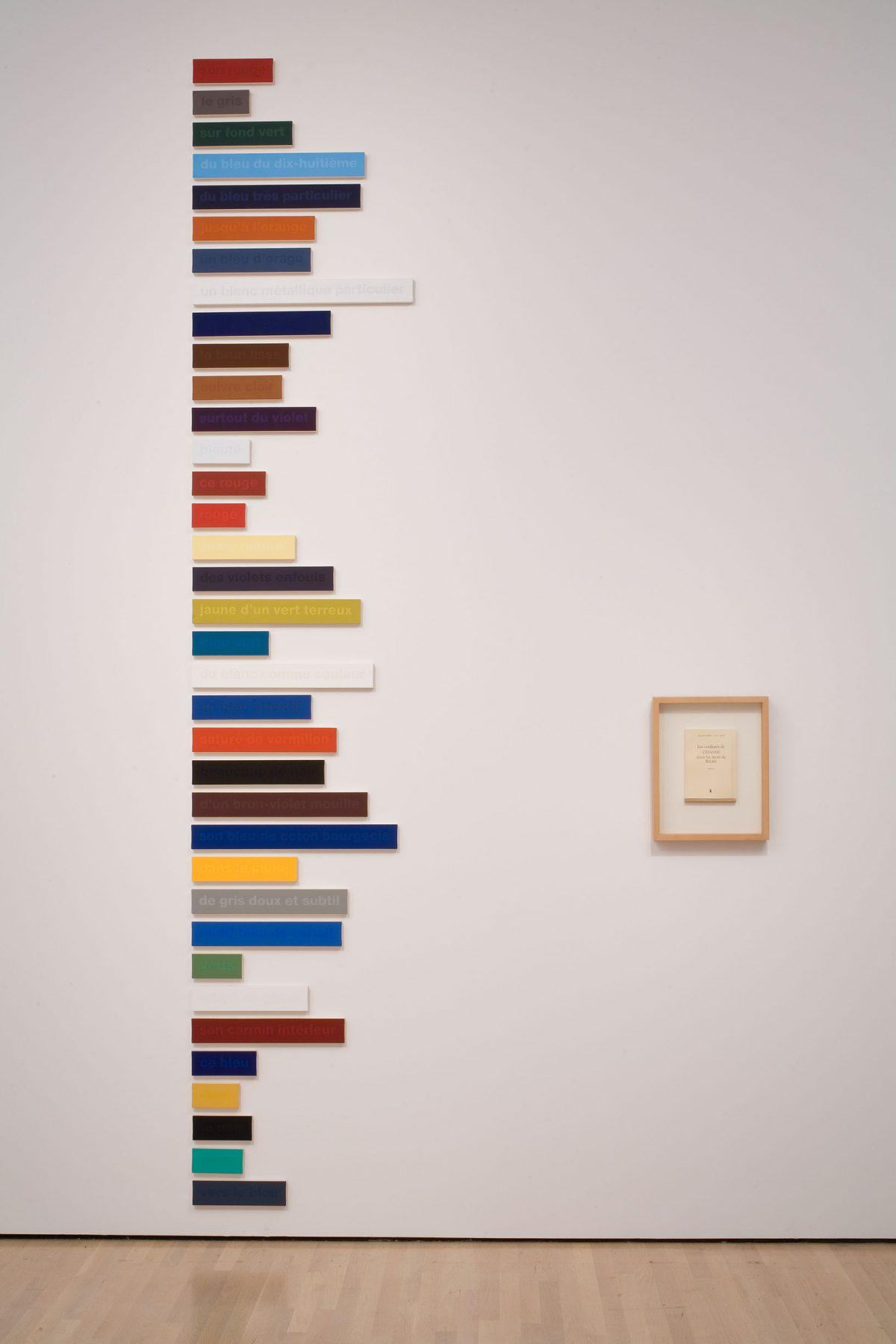 Les Couleurs de Cézanne dans les mots de Rilke, 36/100 - essai, 1997-1998, Francine Savard, Peinture vinylique et acrylique sur toile marouflée sur aggloméré de fibre de pin et livre encadré.