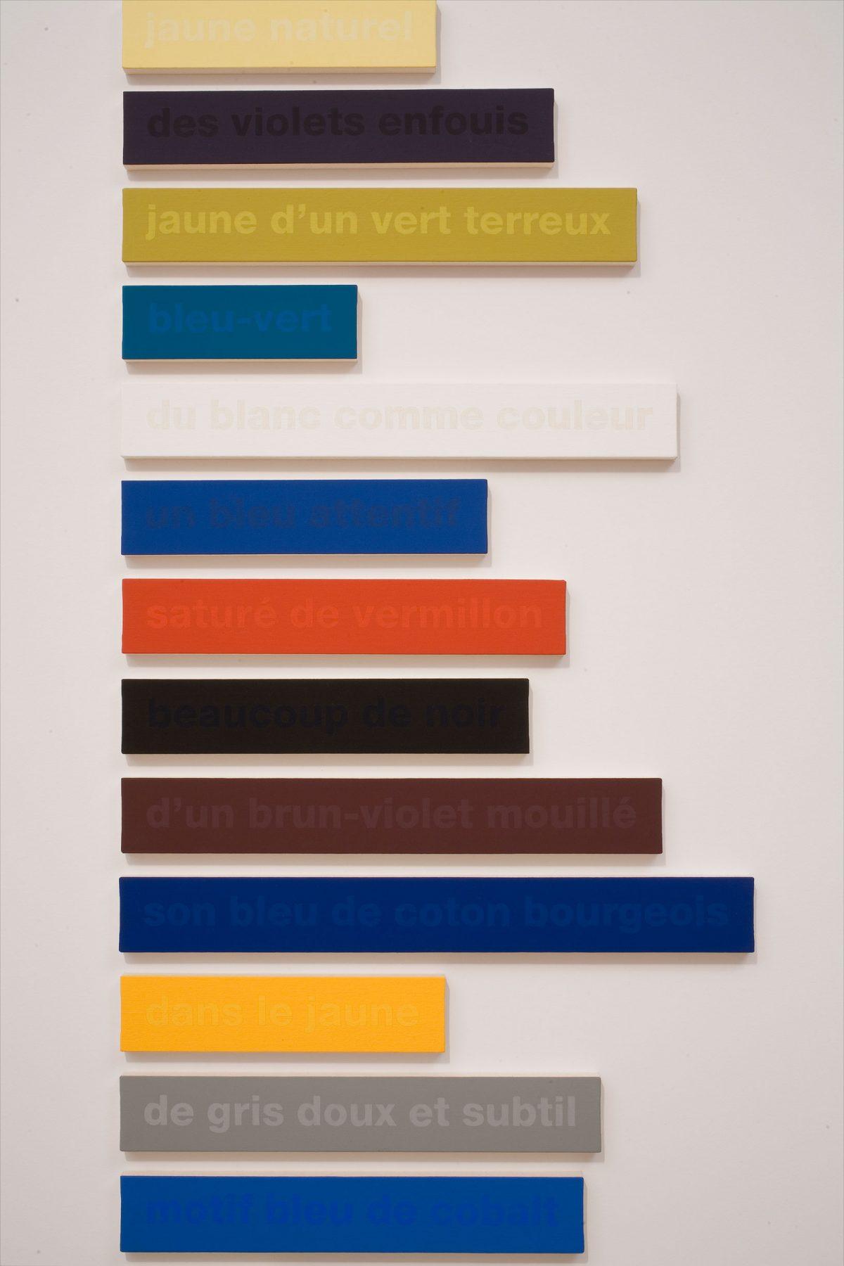 détail de Les Couleurs de Cézanne dans les mots de Rilke, 36/100 - essai, 1997-1998, Francine Savard, Peinture vinylique et acrylique sur toile marouflée sur aggloméré de fibre de pin et livre encadré.
