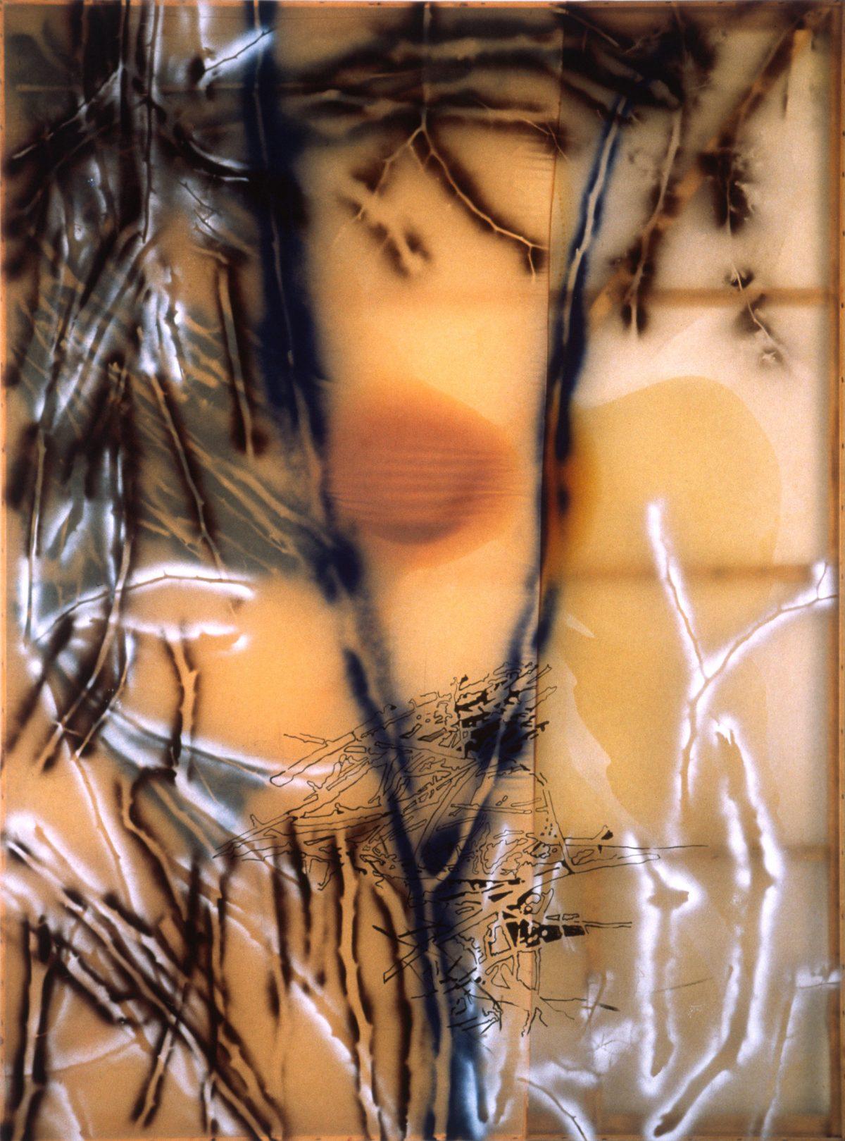 Beaver/Bear, 1989, Sigmar Polke, Résine de polyester, acrylique, peinture aérosol et graphite sur toile.