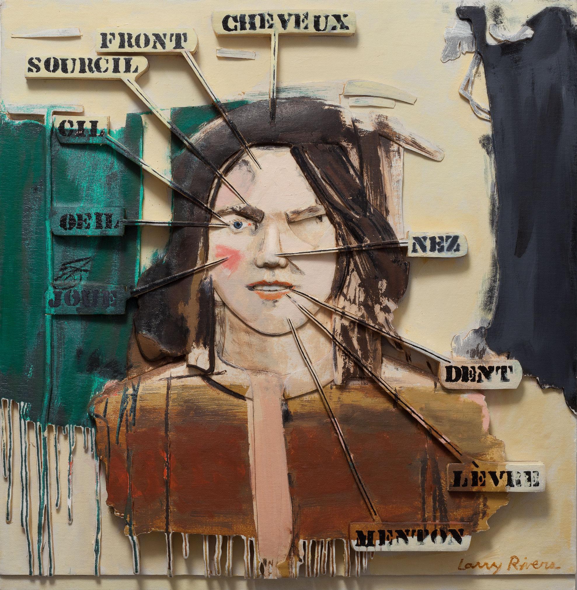 Revisited Vocabulary Lesson, 1991, Larry Rivers, Huile sur toile découpée et collée sur support en panneau de mousse sculpté.