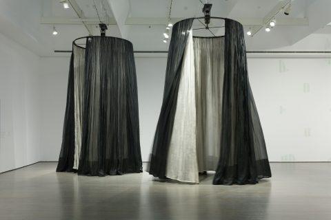 (bearings), 1996, Silk organza curtains, metal railings, motors, steel rods and rings.