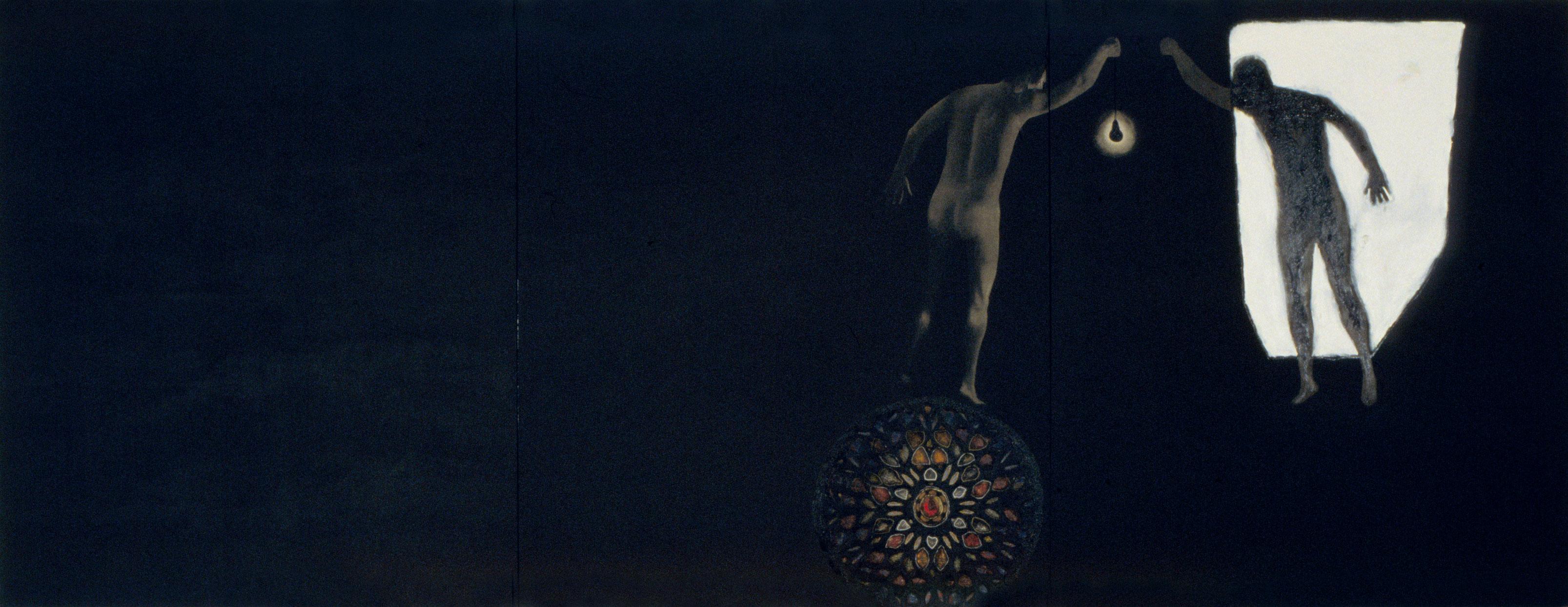 Manifestare, 2000, Marc Séguin, Huile et goudron sur toile.