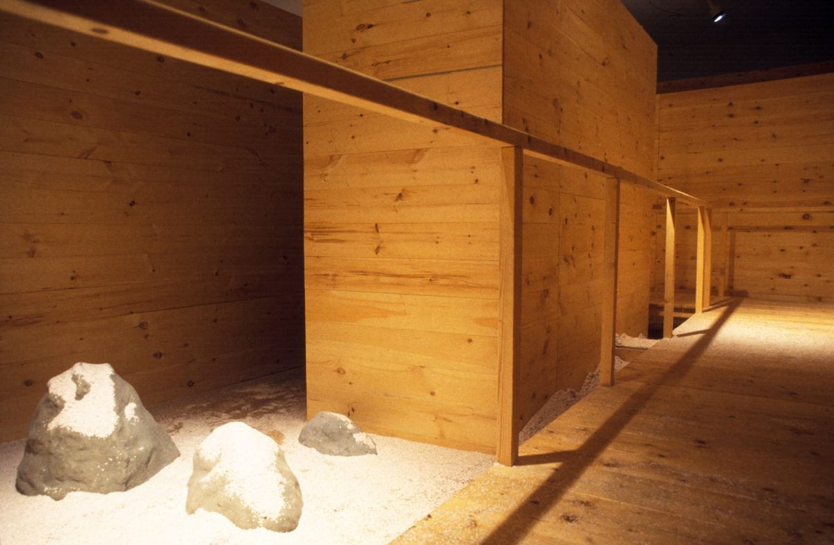 We were in Kyoto, 1997, Wood, plastic, motors, confettis, light and plaster and cement rocks.