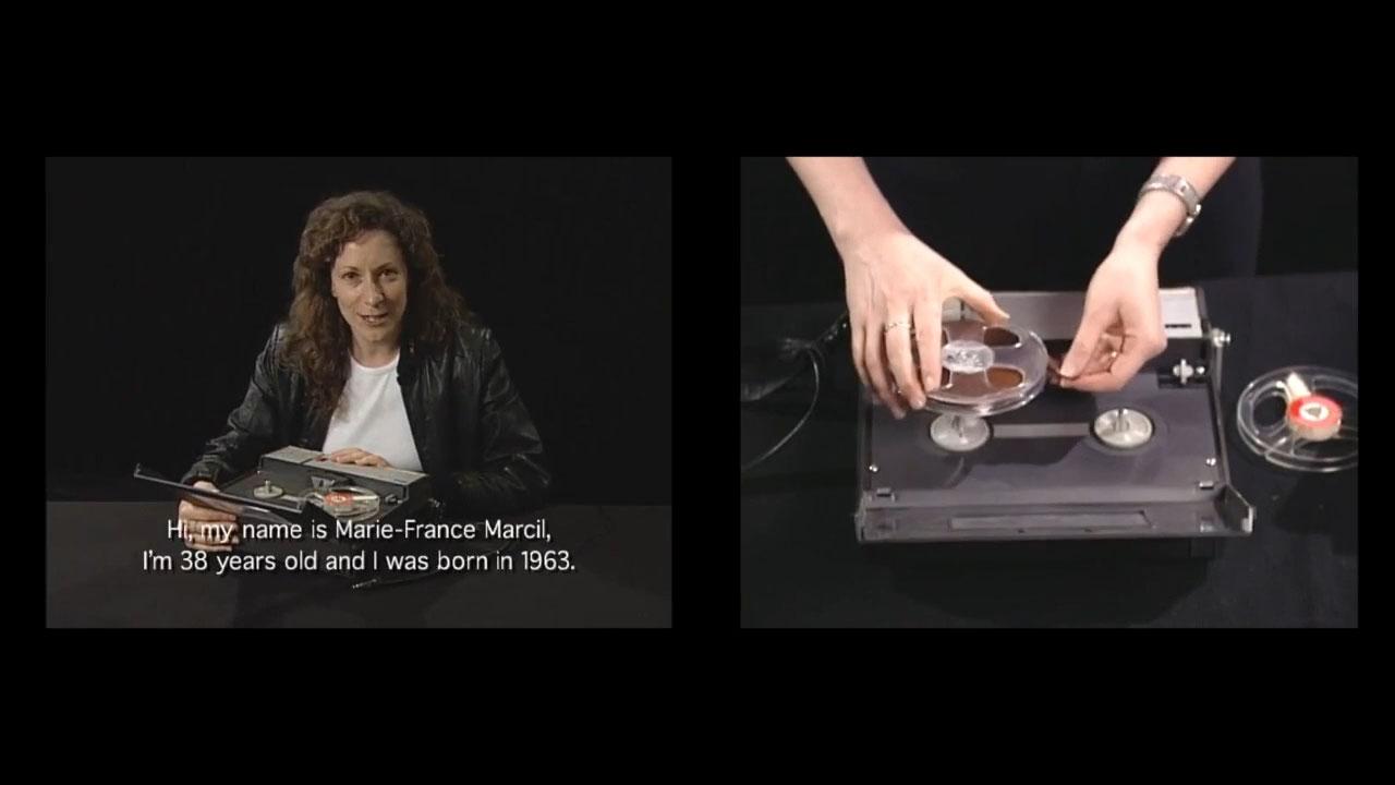 arrêt sur image de Hors d'usage: le récit de Marie-France Marcil, 2002, Atom Egoyan, 2 DVDs couleur, 11 min 32 s, son, 1/2.