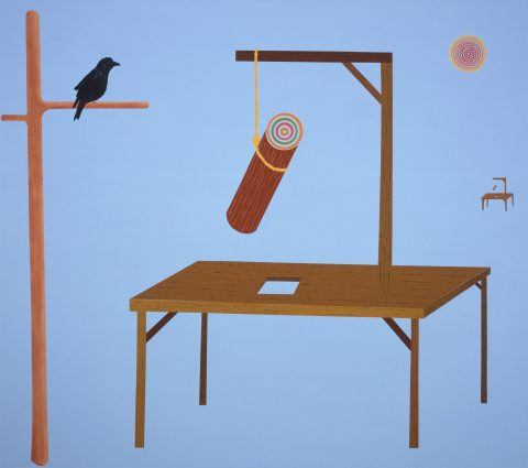 L'Échafaud, 2004, Cynthia Girard, Acrylique sur toile.