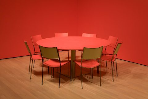 Chameleon, 2004, 1 table and 8 chairs, corner walls, wood, metal, colour.