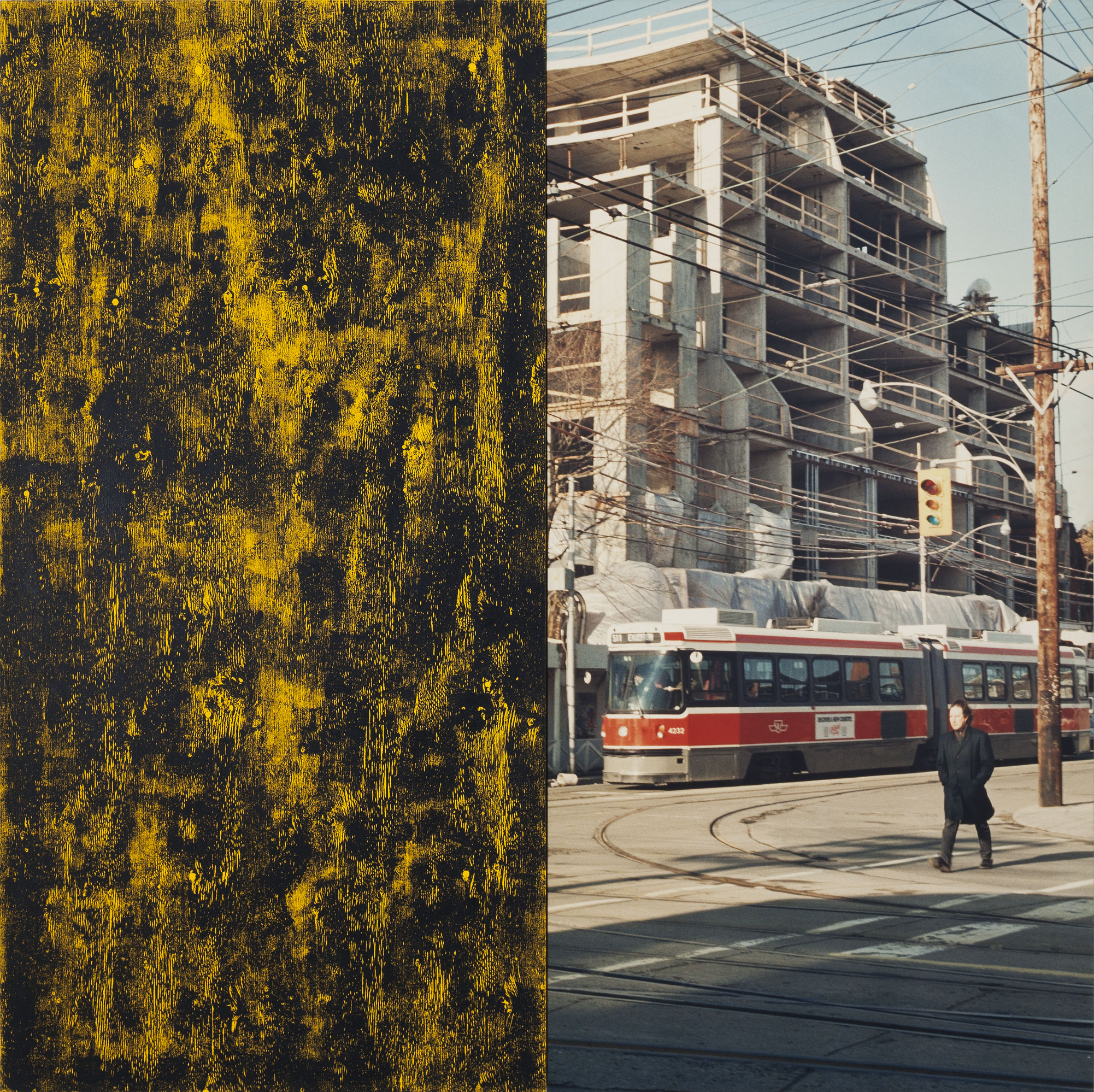 In the Street (Tom), 1989, Ian Wallace, Photographie laminée sur toile, acrylique et monotype à l'encre sur toile.