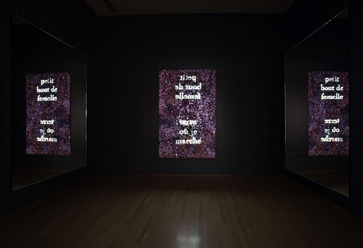 Not I/Pas moi, 2006-2007, Christine Davis, Diaporama en boucle projeté sur écran de boutons suspendu, miroirs, 18 min..