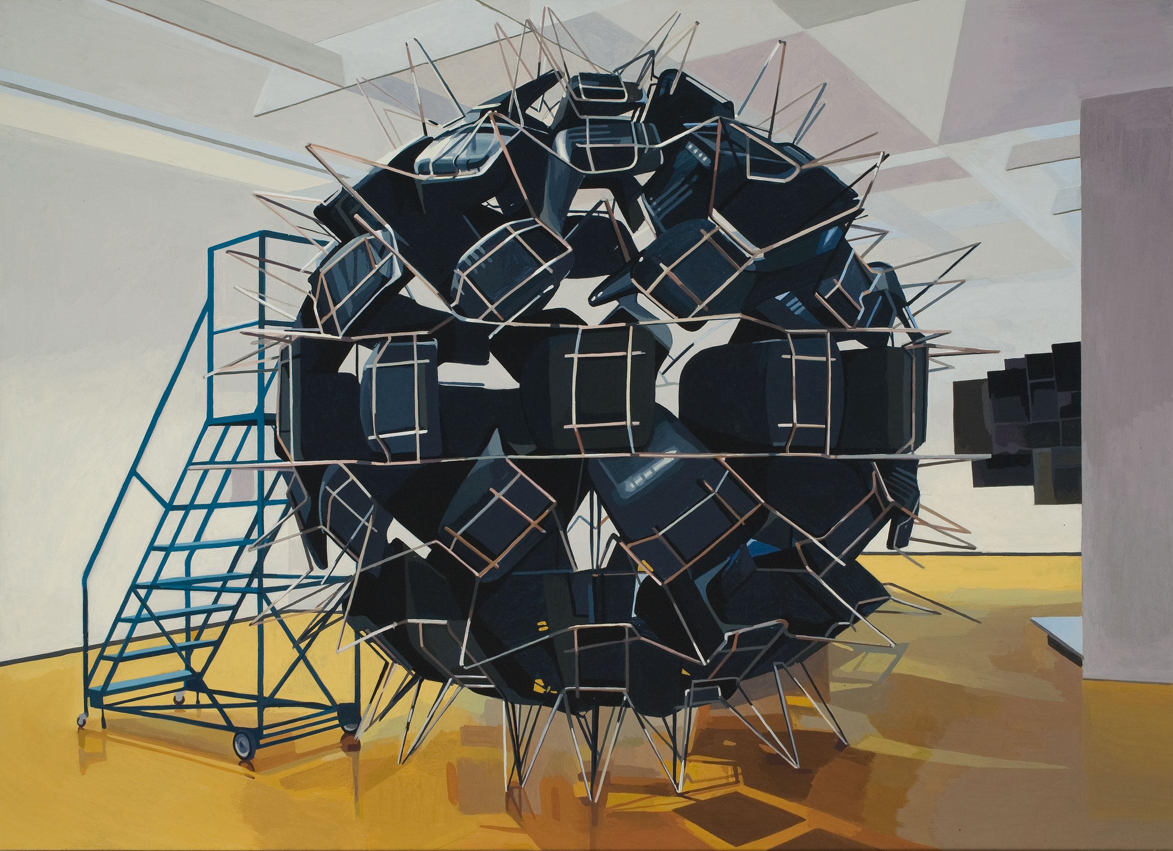 Installation (Michel de Broin) at the MAC, 2008, Michael Merrill, Gouache vinylique sur panneau de bois.