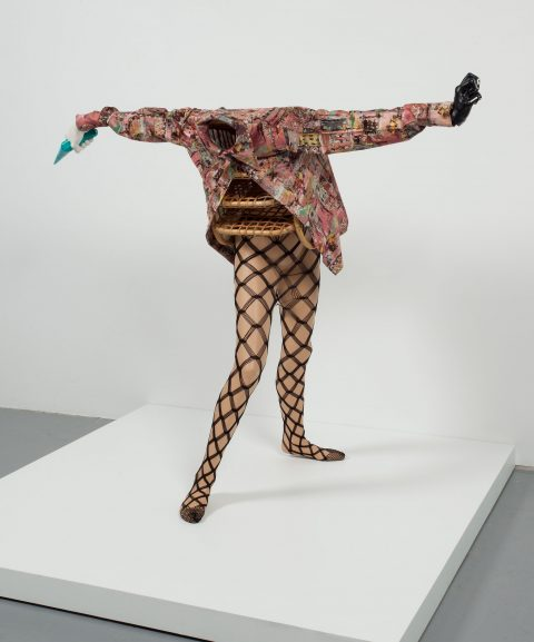 Femme panier, 2010, Mannequin, basket, plaster, tool, tights and shirt.