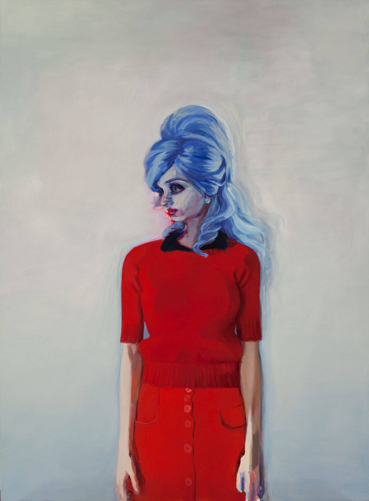 Earthling (Red Sweater), 2012, Janet Werner, Huile sur toile.