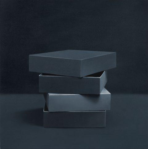 Boîtes no 9, 2014, Richard-Max Tremblay, Huile sur toile.
