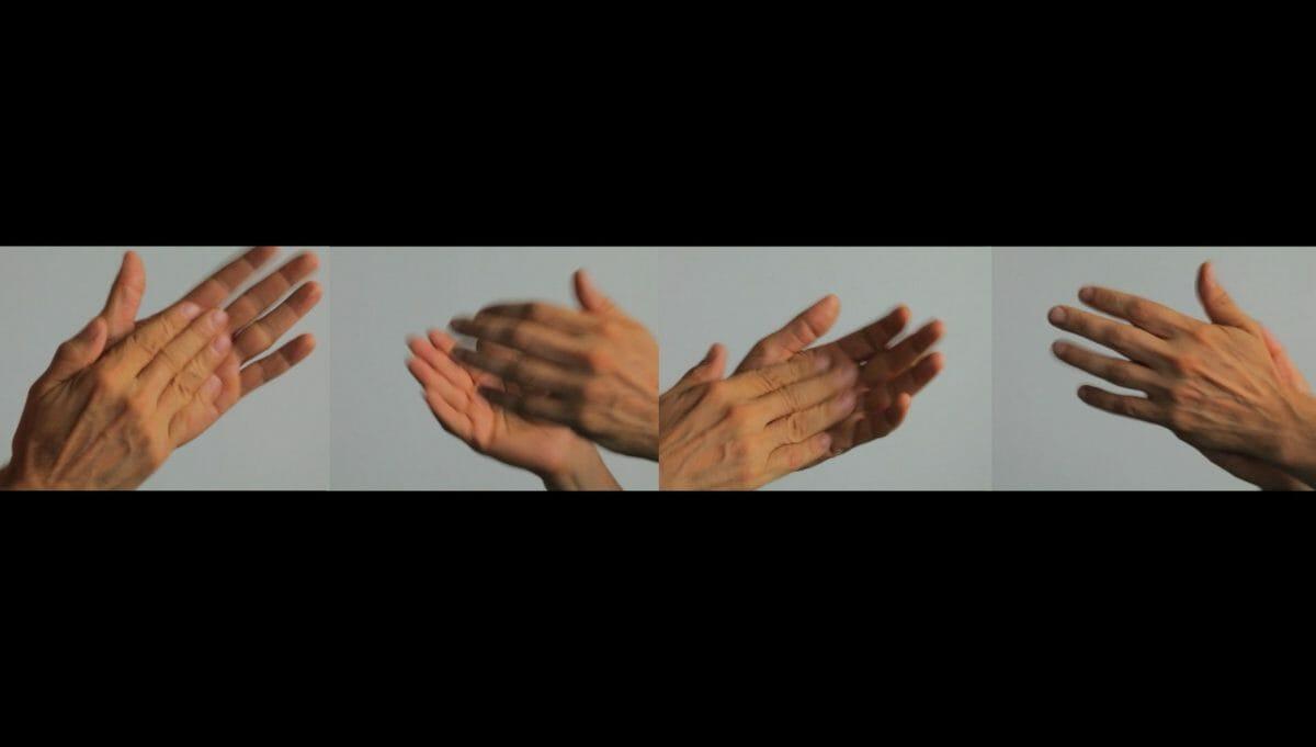 arrêt sur image de Unwriting, 2010, Nelson Henricks, 4 vidéogrammes couleur, projection à 4 canaux, 12 min., son, 1/5.